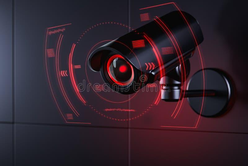Il Cctv sta controllando le informazioni sul cittadino in sistema di sicurezza di sorveglianza, concetto sociale del credito rapp illustrazione di stock
