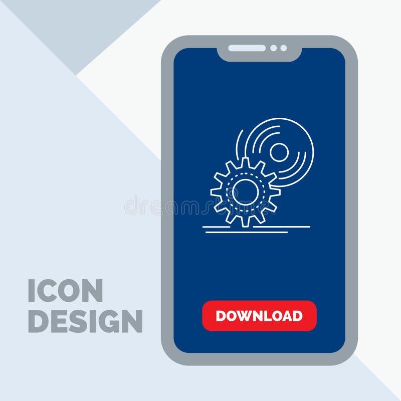 il CD, disco, installa, software, linea icona del dvd in cellulare per la pagina di download royalty illustrazione gratis