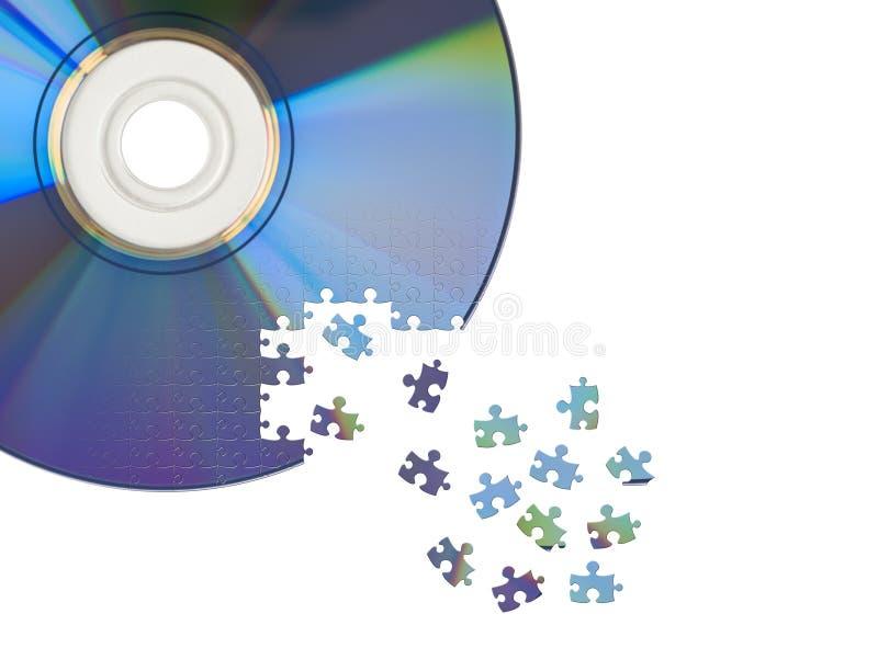 Il CD/DVD ha tagliato dal puzzle di puzzle immagine stock libera da diritti