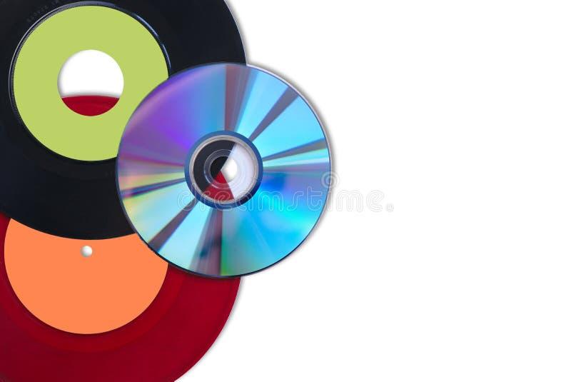 Il CD ed il vinile sceglie rosso e nero fotografie stock