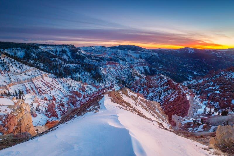 Il cedro rompe il tramonto del monumento nazionale fotografia stock