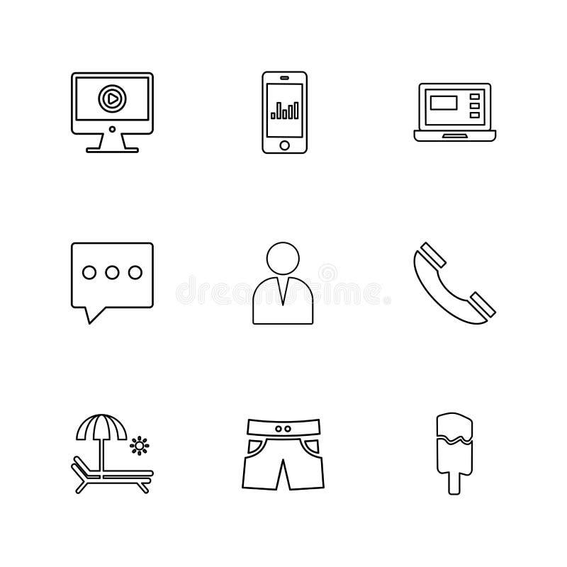 il cellulare, computer, la tecnologia, chiamate, casa, icone di ENV ha messo la VE illustrazione di stock
