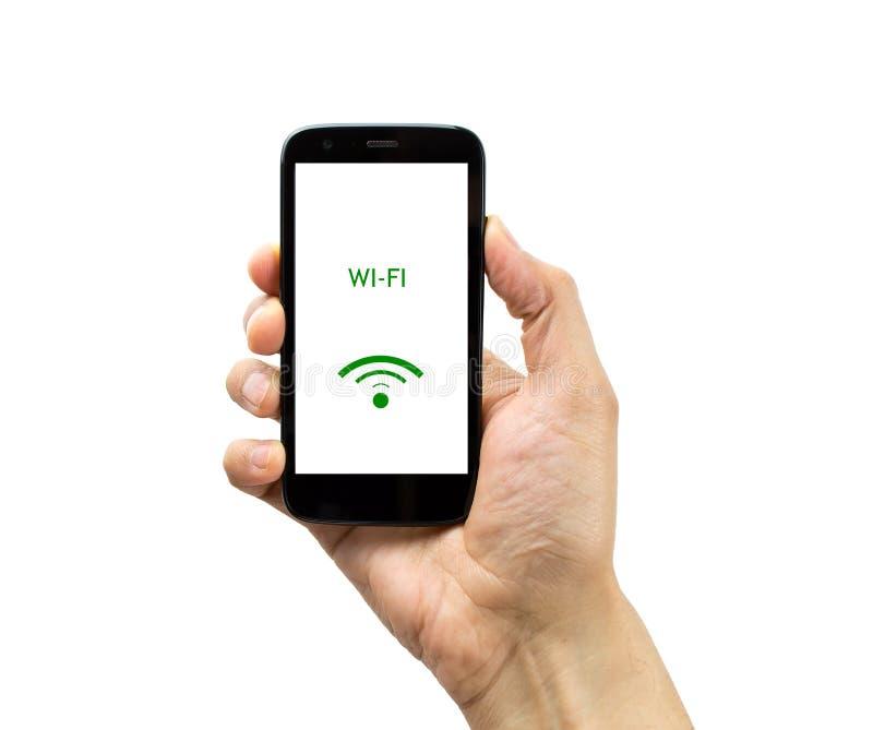 Il cellulare con collega il wifi immagini stock