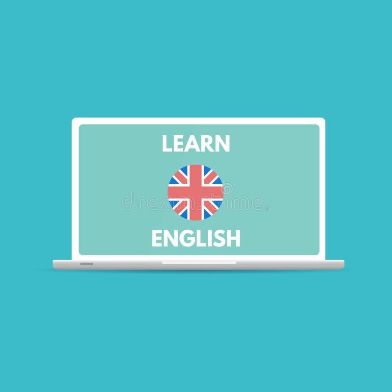 Il cellulare online inglese impara il concetto, imparante il app illustrazione di stock