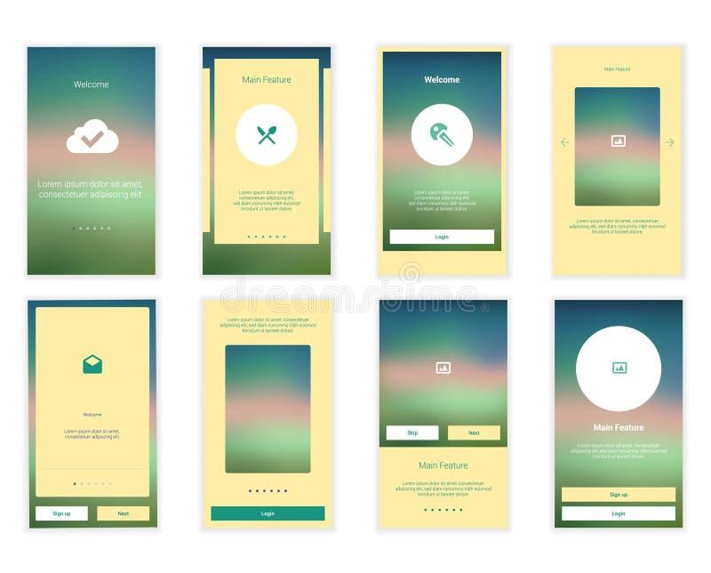 Il cellulare scherma il corredo dell'interfaccia utente Utente moderno illustrazione di stock