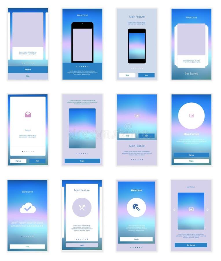 Il cellulare scherma il corredo dell'interfaccia utente Utente moderno illustrazione vettoriale