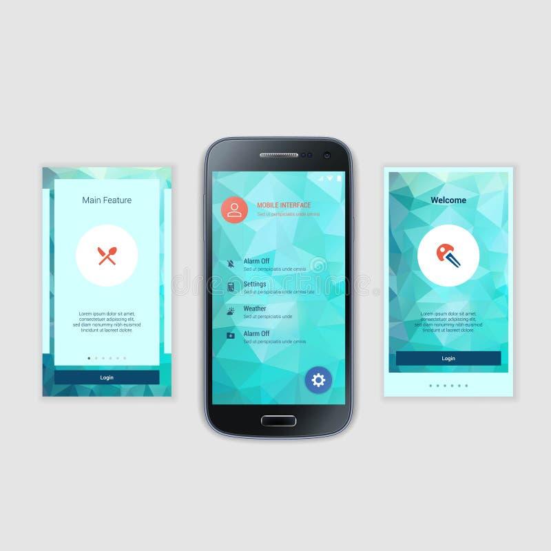 Il cellulare scherma il corredo dell'interfaccia utente Utente moderno royalty illustrazione gratis