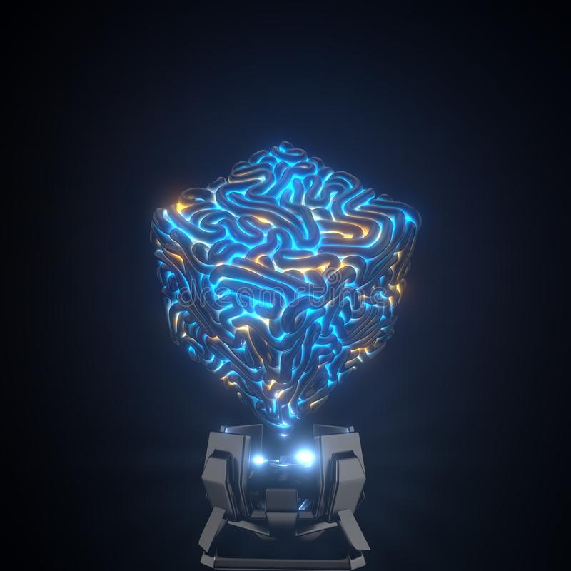 Il centro del computer di quantum cervello cubico per intelletto artifactual illustrazione 3D illustrazione vettoriale