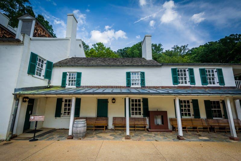 Il centro dell'ospite della locanda di Great Falls, al Chesapeake & all'Ohio Cana immagini stock