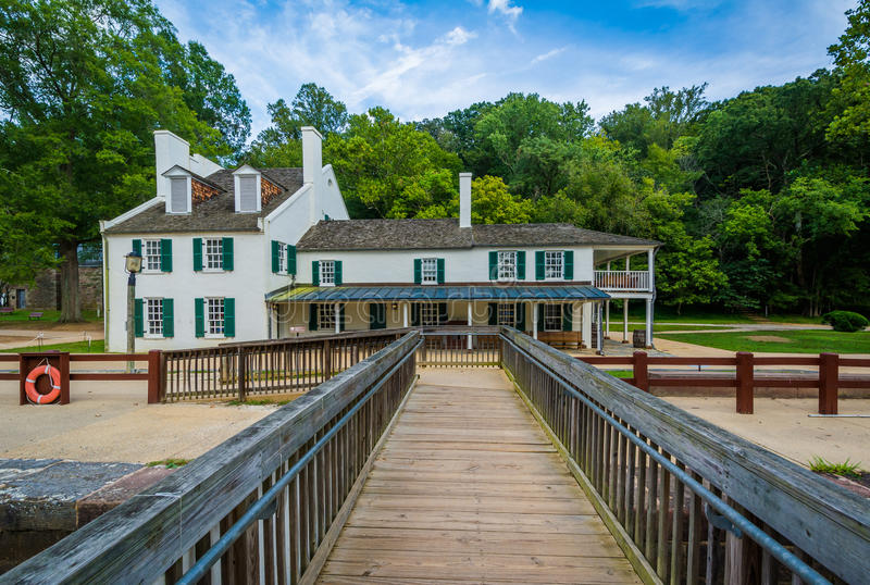 Il centro dell'ospite della locanda di Great Falls, al Chesapeake & all'Ohio Cana fotografie stock libere da diritti