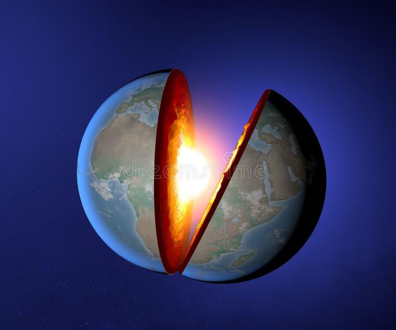 Il centro della terra, terra, mondo, spaccatura, geofisica illustrazione vettoriale