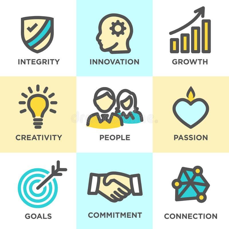 Il centro stima il blu di giallo delle icone del profilo illustrazione di stock