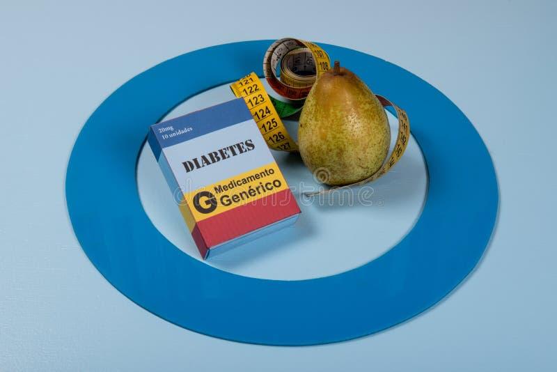 Il cerchio blu con una certa attrezzatura del diabete fa il trattamento la malattia immagini stock