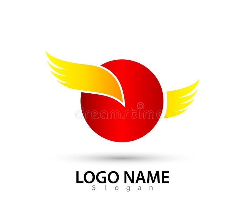 Il cerchio dell'ala ha modellato Logo Template Identità, vettore, illustrazione illustrazione vettoriale