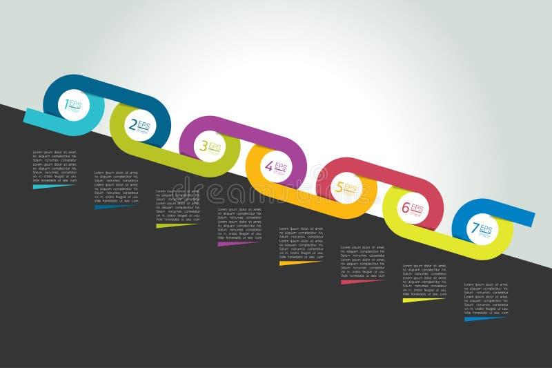 Il cerchio di cronologia ha collegato il concetto, il diagramma, lo schema, infographics illustrazione di stock