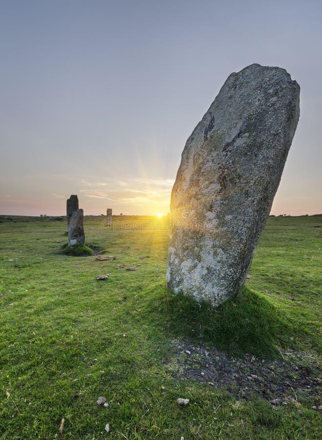 Il cerchio di pietra dei Hurlers fotografie stock libere da diritti