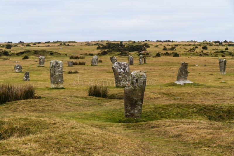 Il cerchio di pietra dei Hurlers, servi fotografie stock