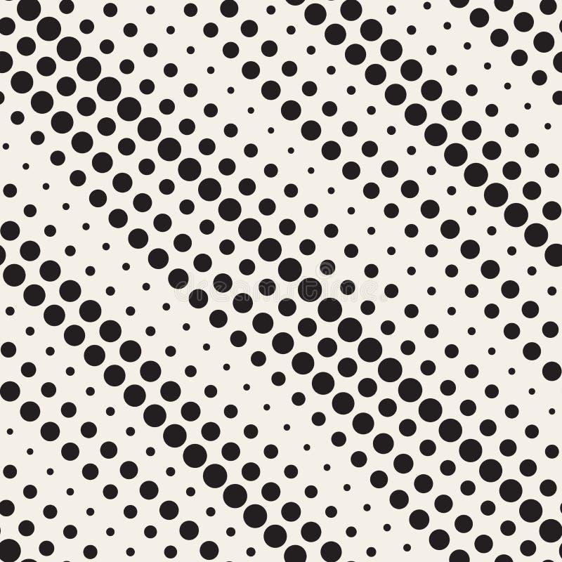 Il cerchio di semitono diagonale in bianco e nero senza cuciture di vettore allinea il modello illustrazione vettoriale