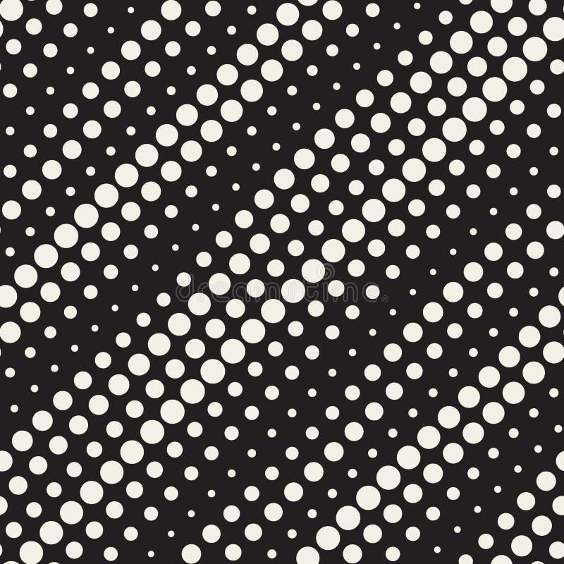 Il cerchio di semitono diagonale in bianco e nero senza cuciture di vettore allinea il modello royalty illustrazione gratis