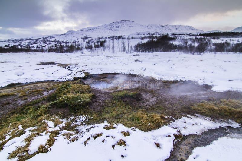Il cerchio dorato in Islanda durante l'inverno immagini stock libere da diritti