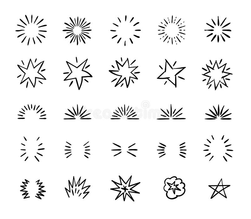 Il cerchio elegante della spazzola dell'inchiostro scoppia e confini capricciosi Decorazione di scoppio disegnata a mano di vetto illustrazione di stock