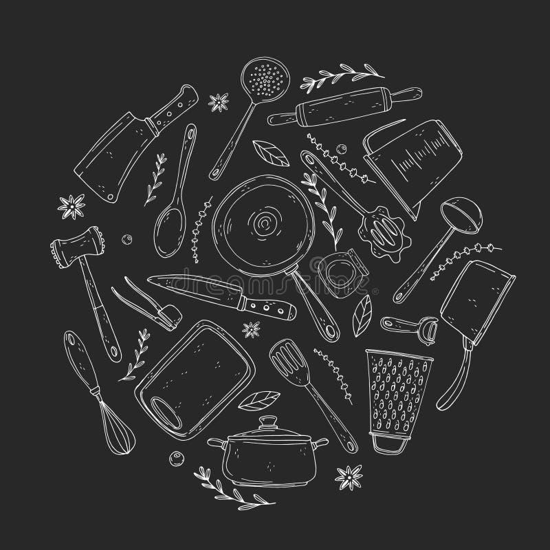 Il cerchio ha fatto degli elementi con articolo da cucina disegnato a mano su un fondo della lavagna royalty illustrazione gratis