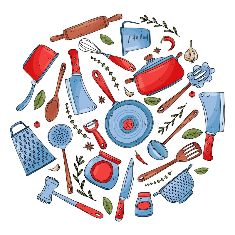 Il cerchio ha fatto degli elementi con gli strumenti disegnati a mano della cucina per isolare su un fondo bianco royalty illustrazione gratis
