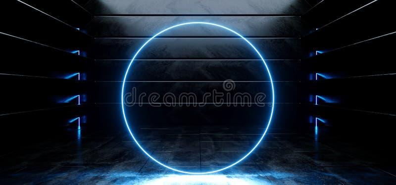 Il cerchio vibrante blu fluorescente d'ardore del neon concreto riflettente lucido straniero vuoto scuro virtuale dell'astronave  illustrazione di stock