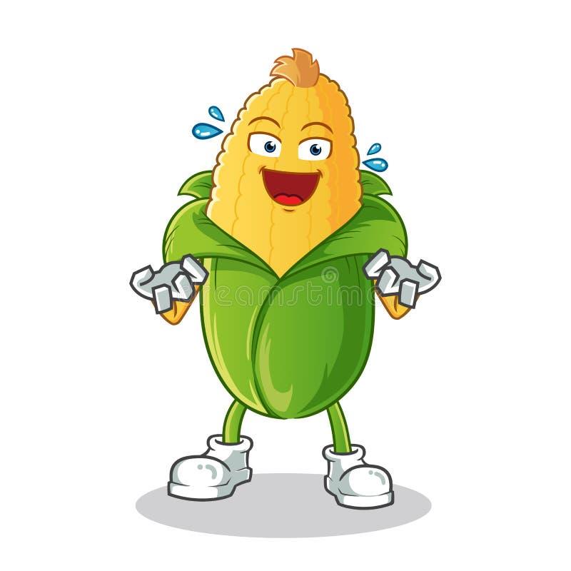 Il cereale molto ha eccitato l'illustrazione del fumetto di vettore della mascotte illustrazione di stock