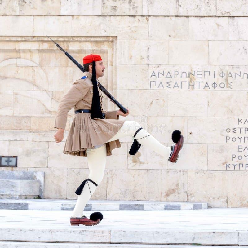Il ceremonial presidenziale di Evzones custodice a Atene, Grecia immagine stock libera da diritti