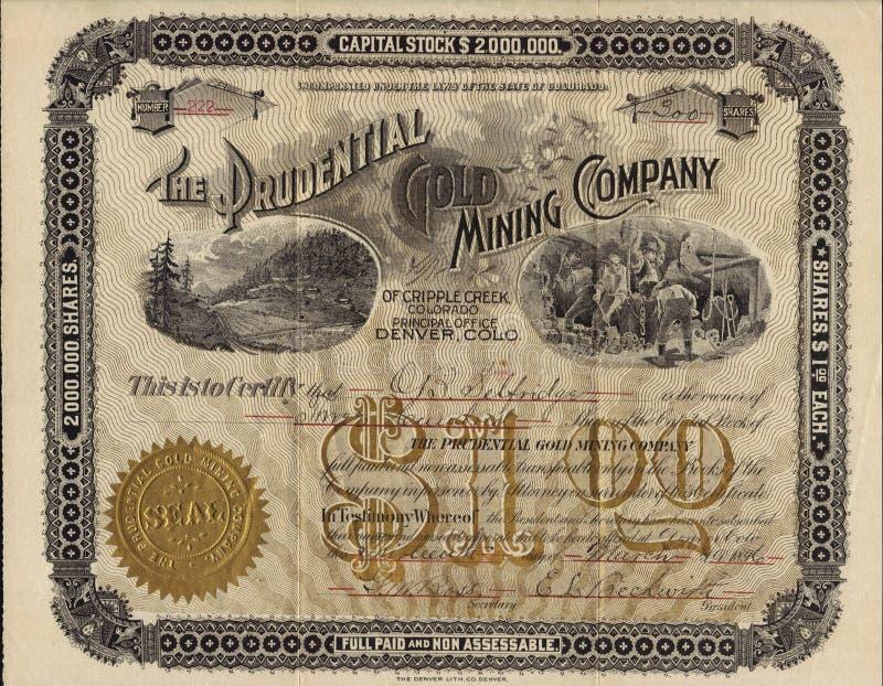 1896 il certificato azionario di Prudential Gold Mining Company - Colorado immagini stock libere da diritti