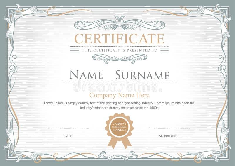 Il certificato di risultato fiorisce il modello d'annata di vettore royalty illustrazione gratis