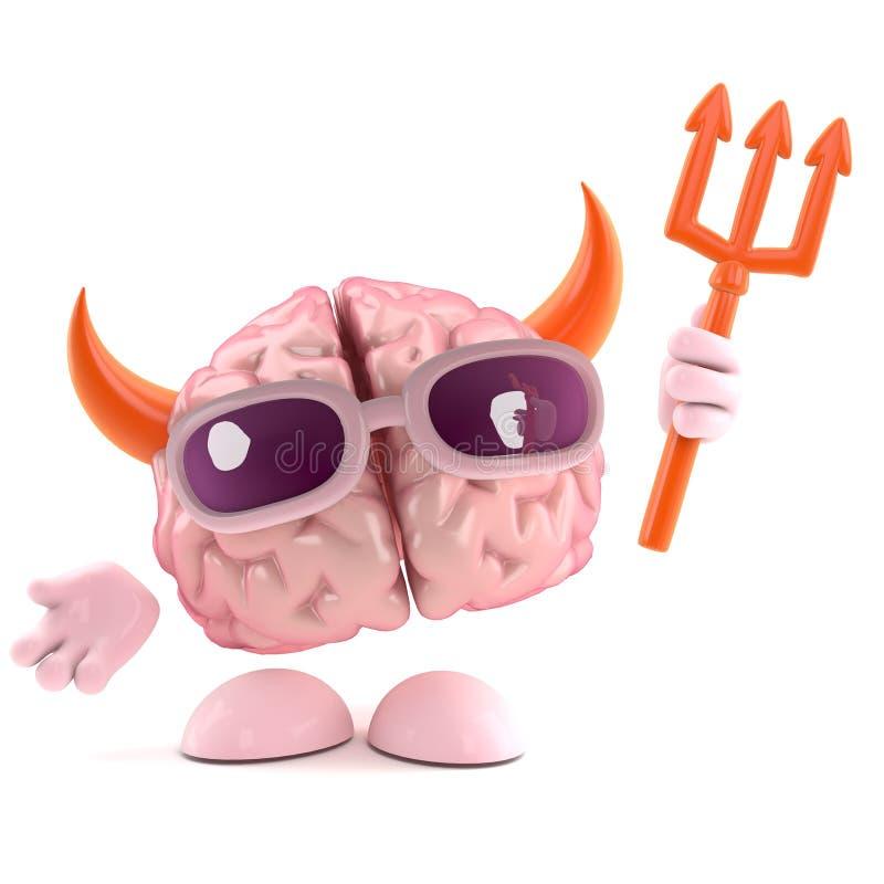 il cervello 3d è il diavolo illustrazione di stock