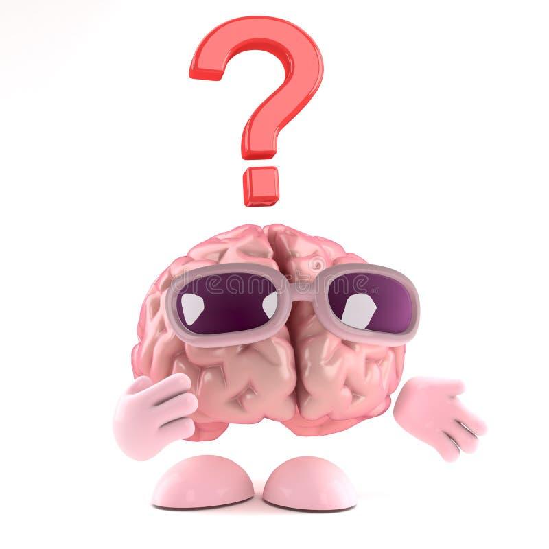 il cervello 3d è imbarazzato illustrazione di stock