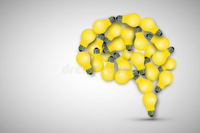 Il cervello fare dai molti la lampadina della luce gialla su fondo grigio royalty illustrazione gratis