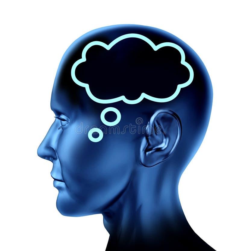 Il cervello ha pensato con la bolla di parola illustrazione vettoriale
