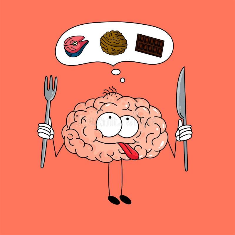 Il cervello sveglio del fumetto con una forcella e un coltello pensa circa un pasto sano - cioccolato, dado e pesce su fondo rosa royalty illustrazione gratis