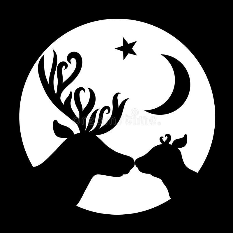 Il cervo della mamma bacia il suoi bambino, stella e luna, siluette in un roun royalty illustrazione gratis