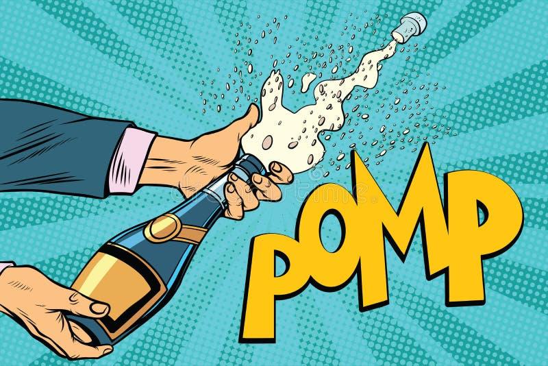 Il champagne di apertura imbottiglia il Pop art illustrazione vettoriale