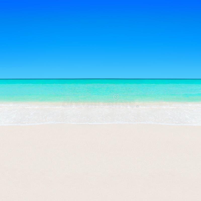 Il chiaro oceano bianco tropicale del turchese e della spiaggia sabbiosa innaffia il backg fotografia stock