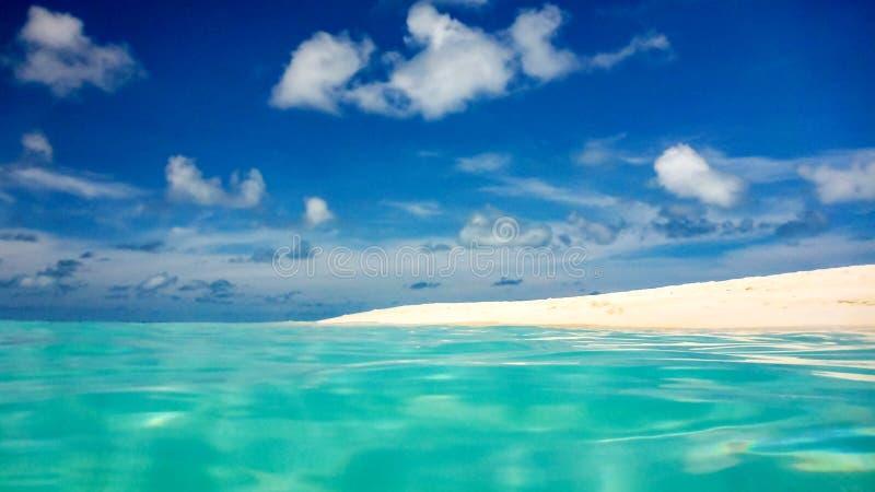 Il chiaro oceano bianco tropicale perfetto idilliaco del turchese e della spiaggia sabbiosa innaffia, le Maldive immagini stock