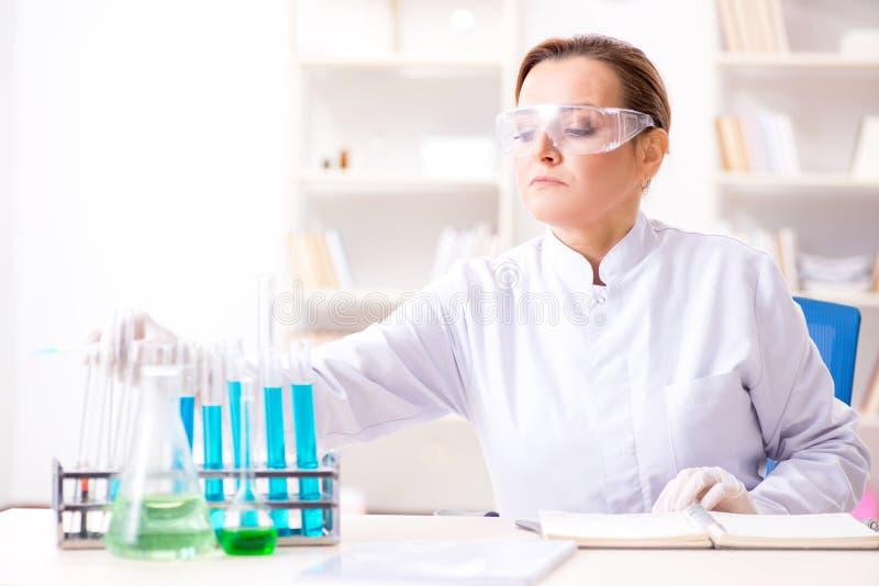 Download Il Chimico Della Donna Che Lavora Nel Laboratorio Della Clinica Dell'ospedale Immagine Stock - Immagine di microbi, clinico: 117975985