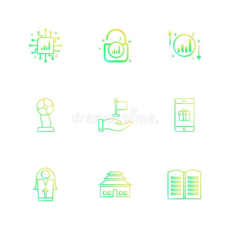 il CI, serratura, sblocca, rappresenta graficamente, su, giù, libro, Smart Phone, si illustrazione di stock