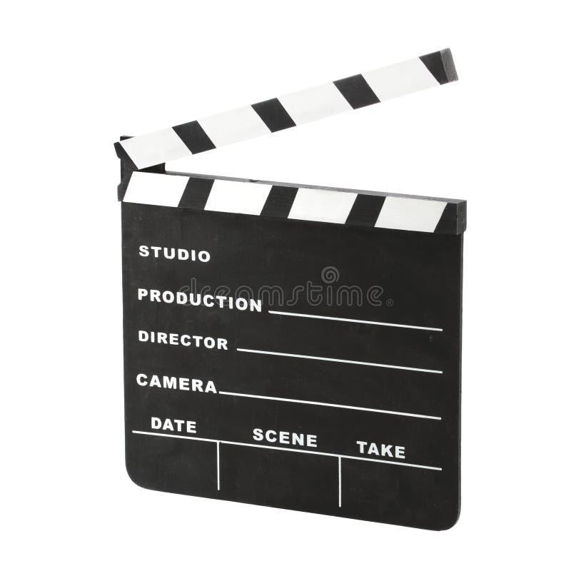 Il ciac classico del gesso di Hollywood ha inclinato aperto di destra isolato su un fondo bianco con il percorso di taglio fotografia stock