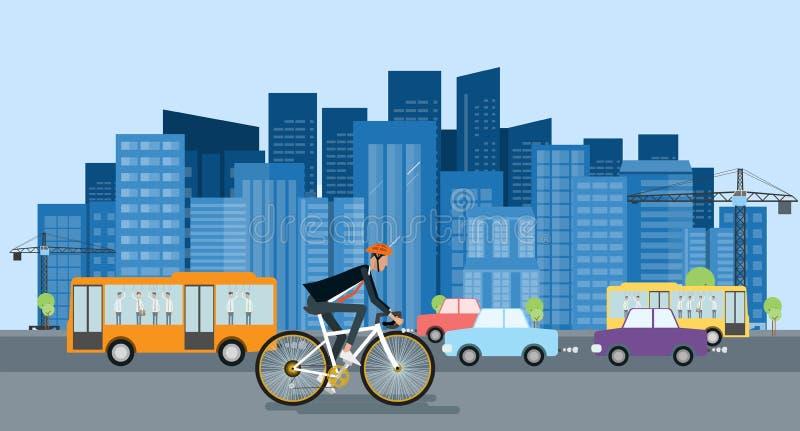 Il ciclismo dell'uomo d'affari va lavorare e risparmio energetico illustrazione vettoriale