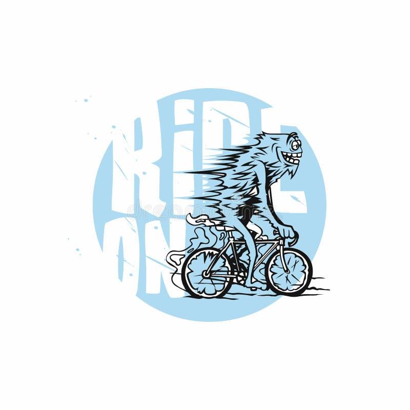 Il ciclista, blu di riciclaggio, bianco, geometrico, ciclista ha stilizzato l'illustrazione di vettore illustrazione di stock