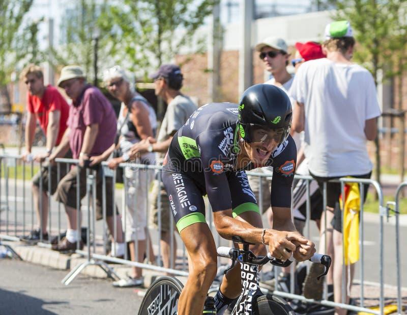 Il ciclista Brice Feillu - Tour de France 2015 fotografie stock