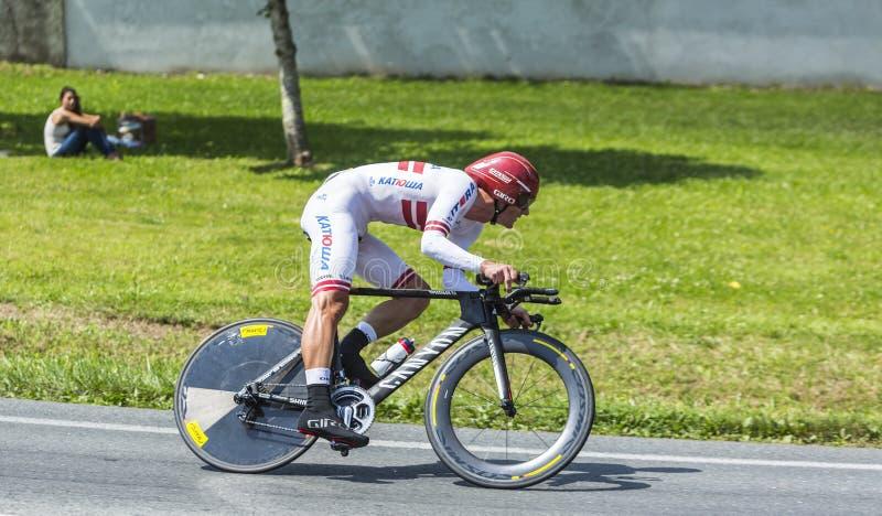 Il ciclista Gatis Smukulis fotografia stock