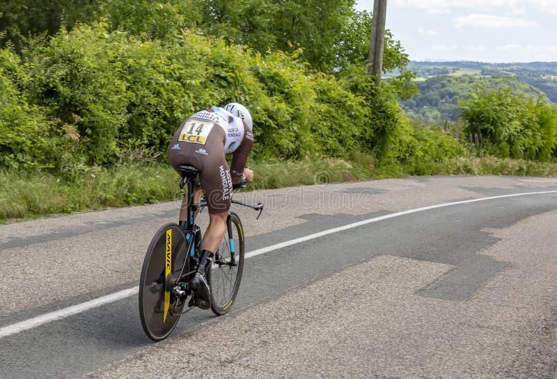 Il ciclista Julien Duval - Criterium du Dauphine 2017 immagini stock libere da diritti