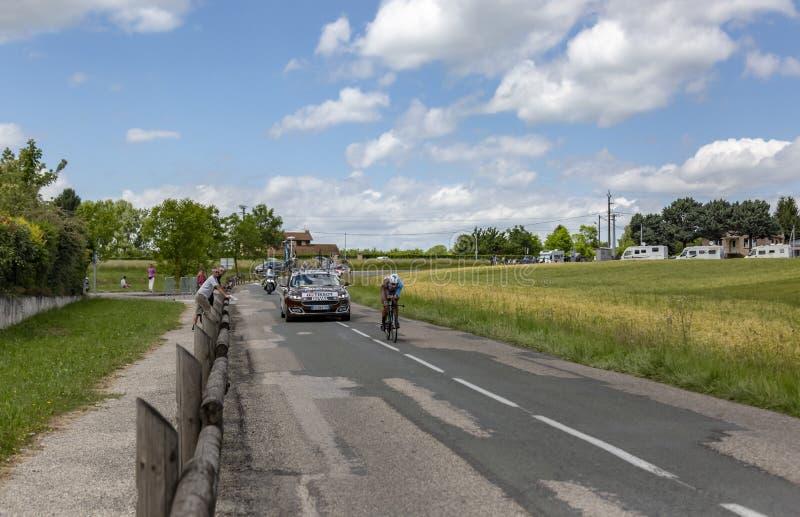Il ciclista Julien Duval - Criterium du Dauphine 2017 fotografia stock libera da diritti